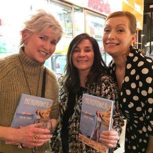 Chantal Voets op boekpresentatie Menopower met Andrea Croonenberghs en Martine Prenen