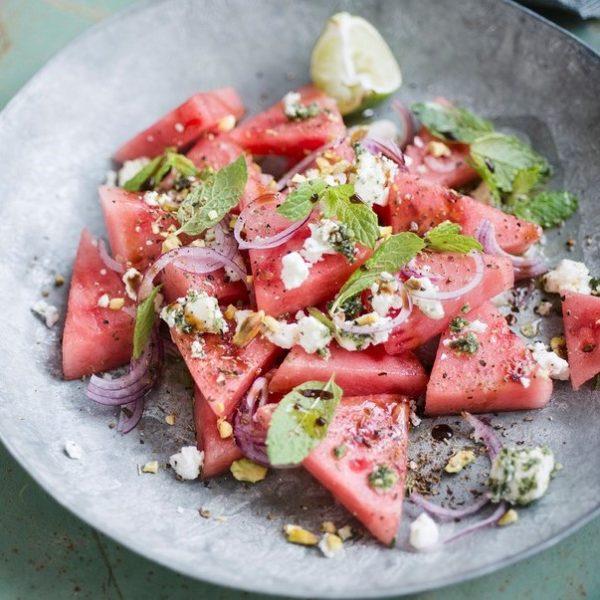 Salade watermeloen recept met feta en munt